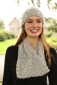 Plymouth Yarn Cabled Hat and Cowl Kit - Scarf and Shawls