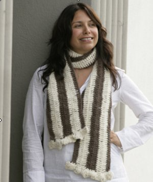 Suss Knitting Brushed Alpaca Crocheted Striped Scarf Kit - Crochet for Adults