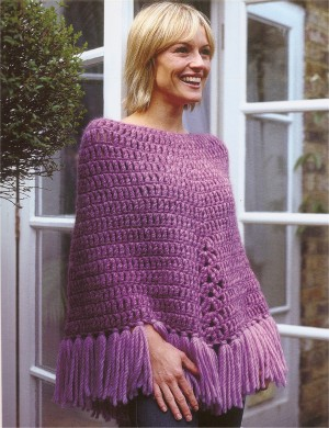 Rowan Big Wool Fringed Poncho Kit - Crochet for Adults