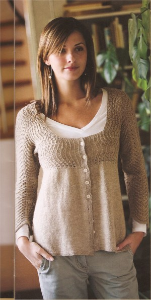 Classic Elite Soft Linen Feather and Fan Cardigan Kit - Women's Cardigans