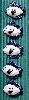 Incomparable Buttons Ceramic Buttons - L065 - Fish