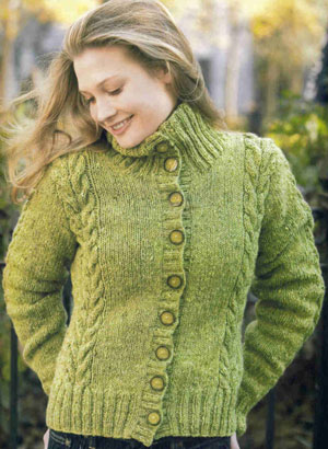Tahki Yarns Donegal Tweed Moss Cabled Cardigan Kit - Women's Cardigans