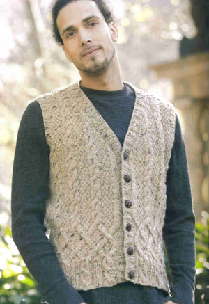 Tahki Donegal Tweed Dublin Cabled Vest Kit - Mens Sweaters