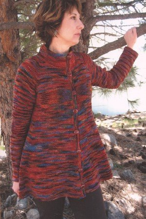 Knitting Pure and Simple Women's Cardigan Patterns - 0285 - Neck Down Swing Coat Pattern