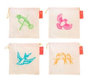 Blue Sky Fibers Pretty Cheep Project Bags - Tangerine (Three Swallows)