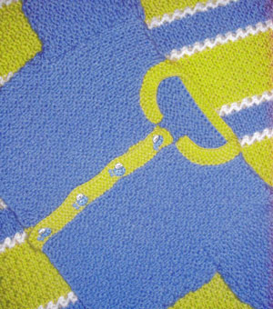 Muench Yarn Patterns - Family Blue Cardigan with Lime Trim Pattern