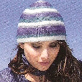 Lana Grossa Chiara Striped Cap Kit - Hats and Gloves