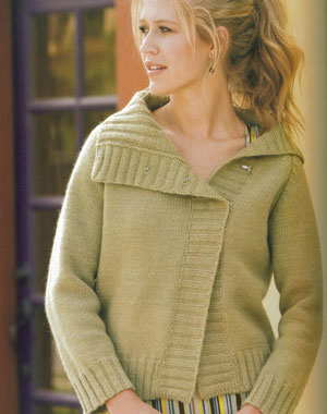 Brown Sheep Lamb's Pride Worsted Offset Raglan Kit - Women's Cardigans