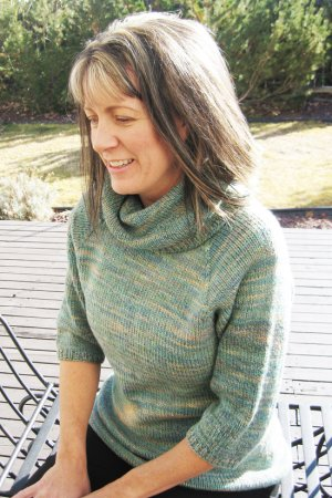 Knitting Pure and Simple Women's Sweater Patterns - 0291 - Neckdown Cowl Collar Pullover Pattern