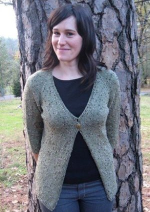 Knitting Pure and Simple Women's Cardigan Patterns - 0292 - Neckdown One Button Cardigan Pattern