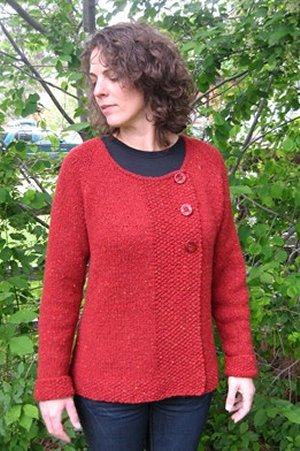 Knitting Patterns Cardigan Ladies : Knitting Pure and Simple Womens Sweater Patterns - 0299 - Bulky Asymmetr...