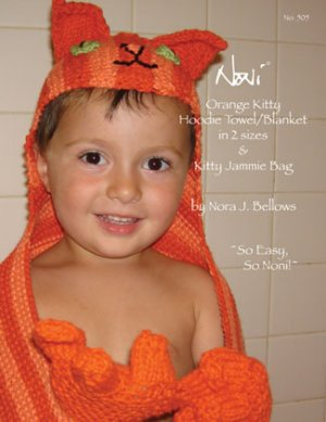 Noni Patterns - Orange Kitty Hoodie Towel/Blanket Pattern