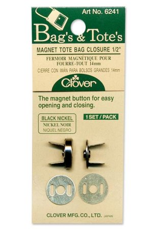 "Clover Magnet Tote Bag Closure - 1/2"" Black Nickel"