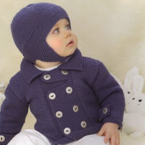 Sublime Baby Cashmere Merino Silk DK Tugboat Coat and Lifeguard Helmet Kit - Baby and Kids Cardigans