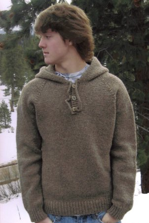 Knitting Pure and Simple Men's Sweater Patterns - 105 - Neckdown Hooded Pullover for Men Pattern