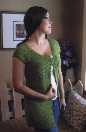 Knitting Pure and Simple Summer Sweater Patterns - 104 - Cap Sleeve Cardigan Vest Pattern