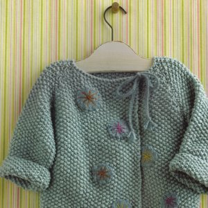 Blue Sky Alpacas Worsted Cotton and Blue Sky Alpacas Melange Precious Baby Jacket Kit - Baby and Kids Cardigans