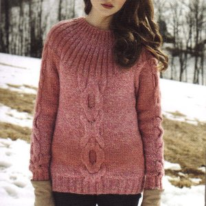 Debbie Bliss Glen Cable Detail Sweater Kit - Women's Pullovers