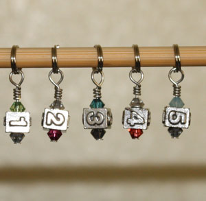Victoria S Beaded Stitch Markers - zNumbers 1-5