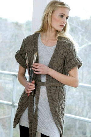 Tahki Montana Sandstone Cabled Coat Kit - Women's Cardigans