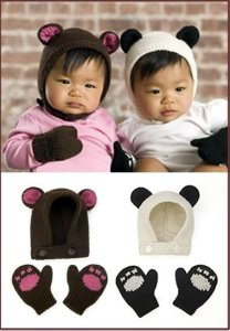 Stitch Nation Alpaca Love Bear And Panda Cub Hat And Mitts Kit - Baby and Kids Accessories