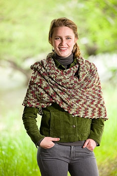 Lorna's Laces Shepherd Sock Sugar Maple Shawl Kit - Crochet for Adults