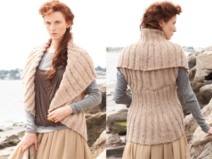 Plymouth Baby Alpaca Grande Tweed Welted Circle Vest Kit - Women's Cardigans