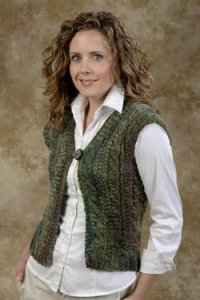 Plymouth Adult Vest Patterns - 1569 Cabled Jacket Vest Pattern