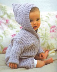 Debbie Bliss Baby Cashmerino Cabled Coat with Hood Kit - Baby and Kids Cardigans