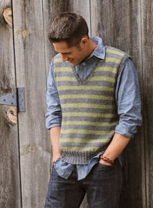 Blue Sky Fibers Adult Clothing Patterns - Men's Striped Vest Pattern