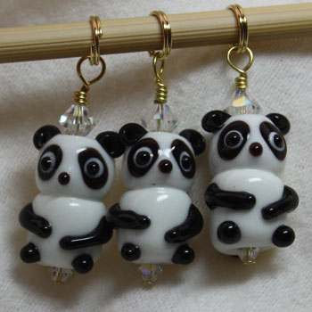 Victoria S Beaded Stitch Markers - Panda Love