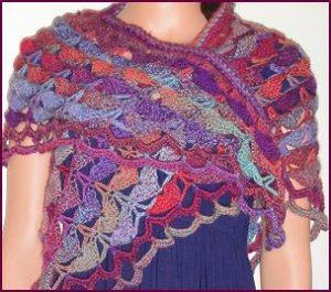 Crystal Palace Sausalito Shell Stitch Crocheted Shawl Kit - Crochet for Adults