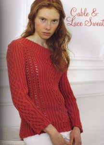 Debbie Bliss Bella Cable & Lace Sweater Kit - Women's Pullovers