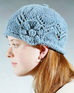 Fiber Trends Pattern Patterns - Lace Cap With Knit Flower Pattern