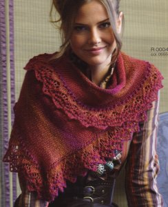 Regia Hand-dye Effect Asymmetrical Shawl with Lace Band Kit - Scarf and Shawls
