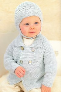 Sublime Baby Silk & Bamboo DK Little Henry Car Coat and Helmet Kit - Baby and Kids Cardigans
