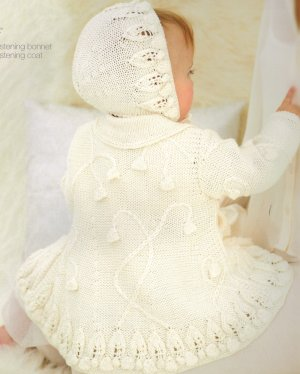 Sublime Baby Silk & Bamboo DK Little Vintage Christening Coat and Bonnet Set Kit - Baby and Kids Cardigans