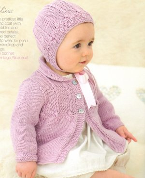 Sublime Baby Silk & Bamboo DK Little Alice Coat and Bonnet Set Kit - Baby and Kids Cardigans