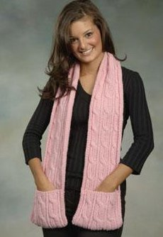 Plymouth Yarn Womens Accessory Patterns 1884 Cabled Pocket Scarf