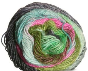 Noro Silk Garden Lite Yarn - 2052 Greens, Black, Pink (Discontinued)