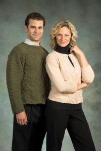 Plymouth Sweater & Pullover Patterns - 1789 Worsted Merino Superwash Sweater and Cardigan Pattern