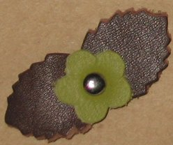 Grayson E Soft Leather Flowers - Tiny Brown and Green
