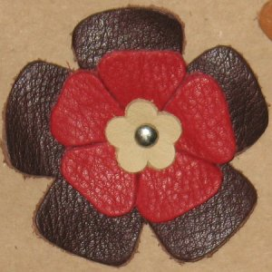 Grayson E Soft Leather Flowers - Large Brown and Red