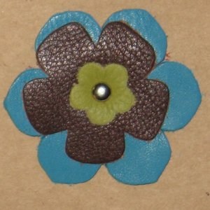 Grayson E Soft Leather Flowers - Large Blue and Black