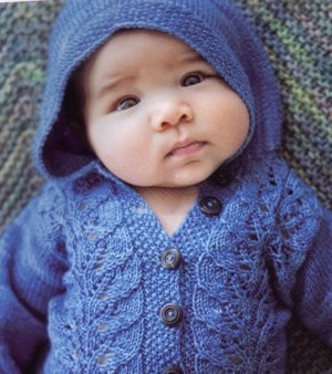 Malabrigo Sock Leaf Border Hooded Jacket Kit - Baby and Kids Cardigans