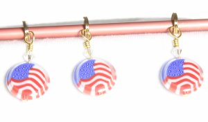 Victoria S Beaded Stitch Markers - Flag