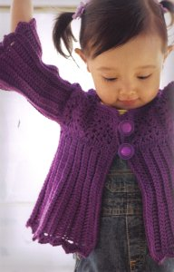 Lana Grossa Cool Wool 2000 Ribbed Cardigan Kit - Crochet for Kids