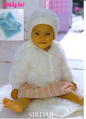 Sirdar Funky Fur Pattern Patterns 1542 Jacket Hat And Blanket