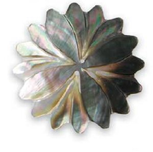 "Lantern Moon Buttons - Chrysanthemum Shell - Black - 2.25"" (Discontinued)"