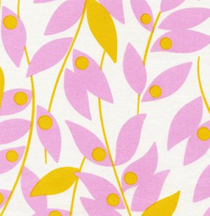 Heather Bailey Nicey Jane Fabric - Lindy Leaf - Tangerine
